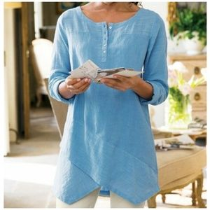Soft Surroundings Tunic Breezy Nights Long Sleeve
